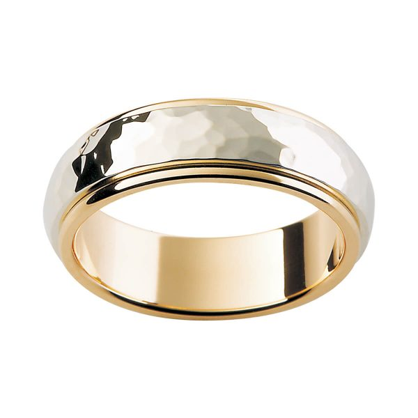 F158 stylish men's two tone ring with hammer finish overlay in yellow gold