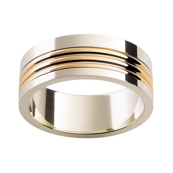 F161 classic meets modern in this two tone men's ring with contrasting gold ridges overlay running across centre section