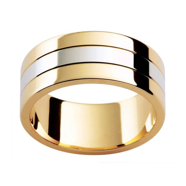 F171 men's ring in two tone with 3 equal sections with high polished finish