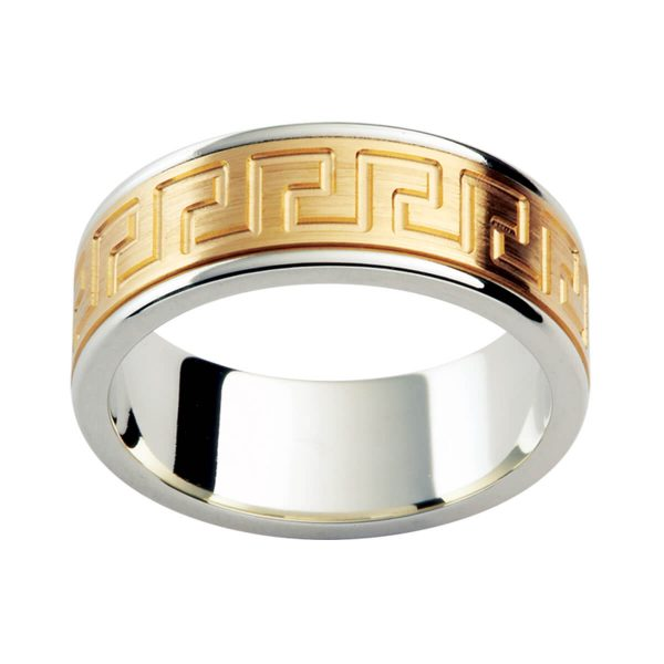 F173 men's ring with unique graphic pattern on overlay in two tone gold with brushed finish and polished edges