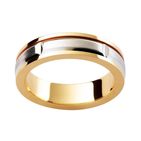 F174 men's wedding band in two tone with flat polised edges and brushed finish centre overlay in white gold