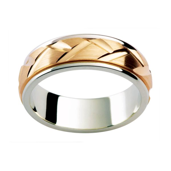 F180 men's wedding ring with engraved pattern in brushed-finish overlay centre on white gold band