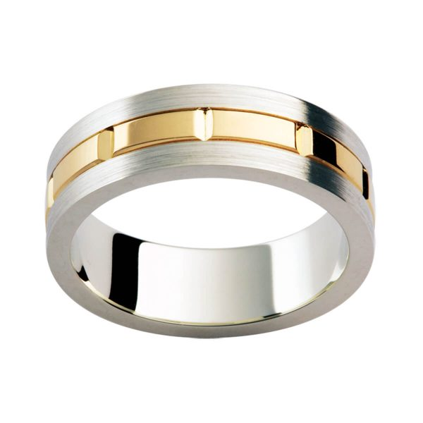 F182 stylish men's band in brushe white gold with polished grooved yellow gold overlay in the centre
