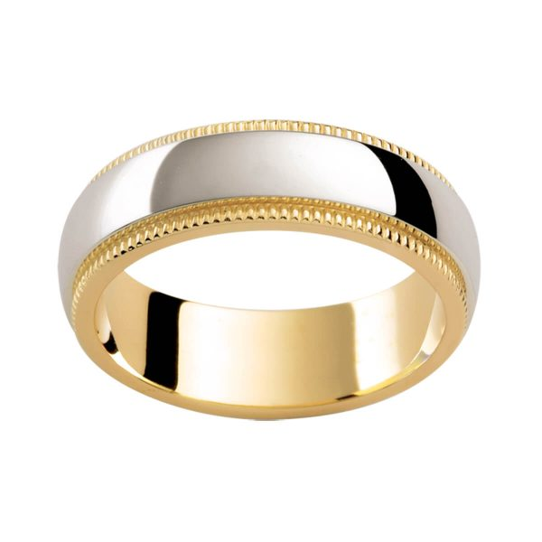 F183 two tone plain men's band with polished white gold overlay on yellow gold inner band with milgrain edges
