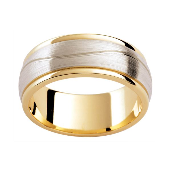 F189 two tone men's band with brushed white gold overlay with gentle wave pattern on polished yellow gold inner band