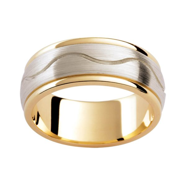 F190D two tone men's wedding band with horizontal wave pattern on overlay in brushed white gold. Polished yellow gold Inlay finish.
