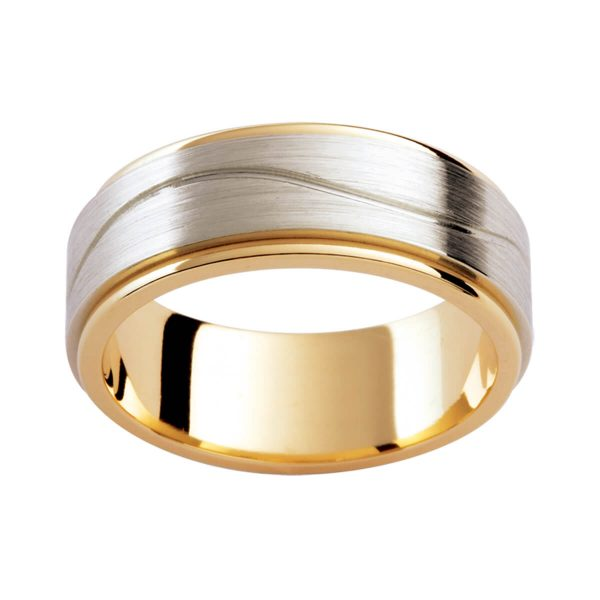 F191D men's two tone band with engraved wave line across overlay centre in brushed white gold on polished yellow gold innerband