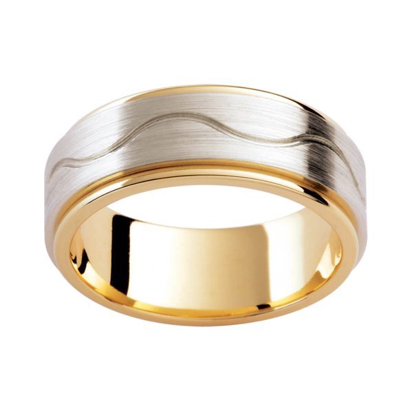 F192D two-tone men's band in brushed white gold overlay with wave pattern on polished yellow gold