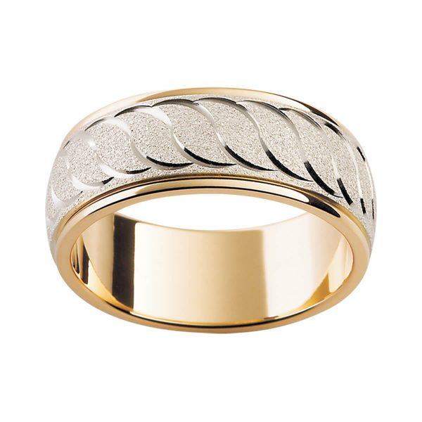 F23M men's two tone band with continuous wave pattern in specailty white gold overlay on yellow gold band