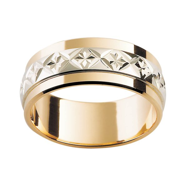 F28M men's ring with stylish cross and star engraved pattern on white gold overlay in yellow gold band