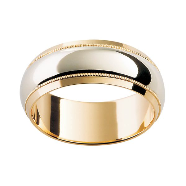 F51 modern men's band with decorative milgrain trim in two tone gold and polished finish