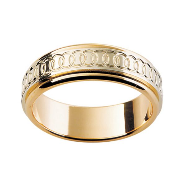 Two Tone men's band with interlocking ring eternity motif on overlay