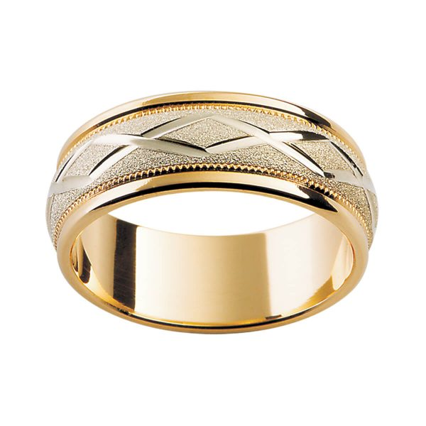 F66 two tone men's textured band with engraved cross pattern and milgrain edge details