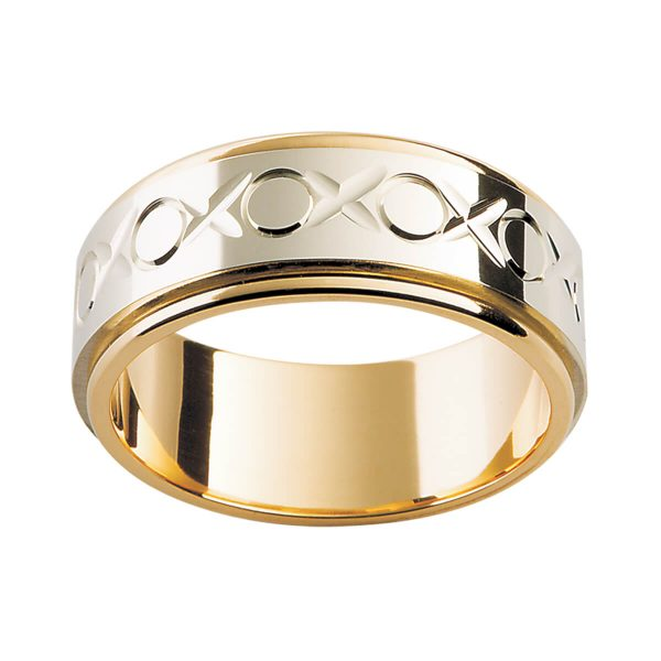 F69 men's ring with xoxo pattern in two tone with white gold overlay on yellow gold band