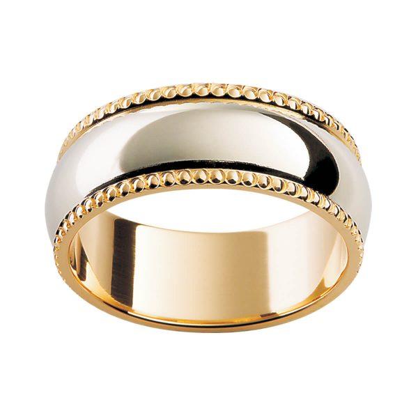 F81 timeless men's wedding ring in high polish overlay centre on beaded trim edge