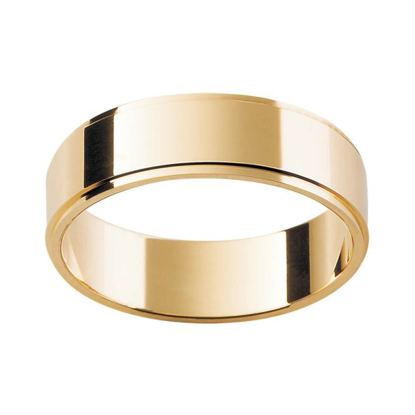 FS plain flat band with stepped edge in polished yellow gold finish