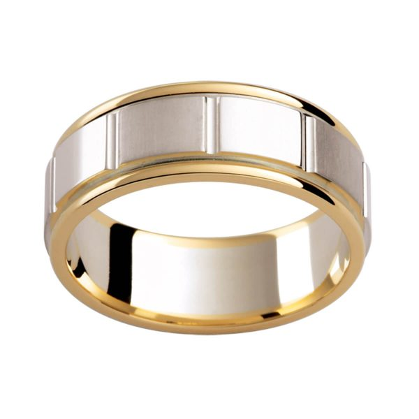 G142 men's band in two tone with vertical grooves all the way around. White gold inlay with polished yellow gold edges
