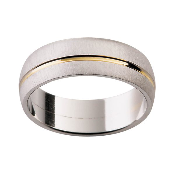 G64 men's band stylish wedding ring in a special brushed finish with a polished offset groove