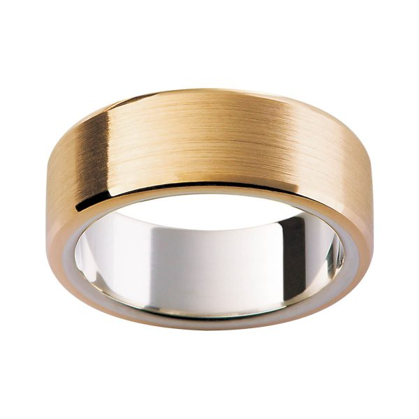 K4 flat men's band in brushed rose gold with beveled edge on polished flat white gold inner ring