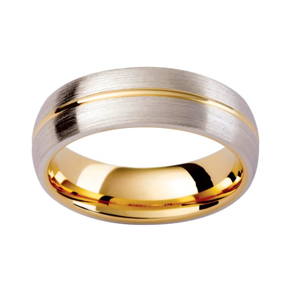KC8E two tone men's ring with polished yellow gold centreline on brushed white gold outerband.