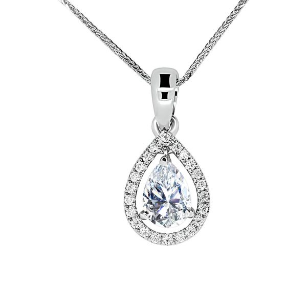 Margina pear cut pendant with open halo on bail