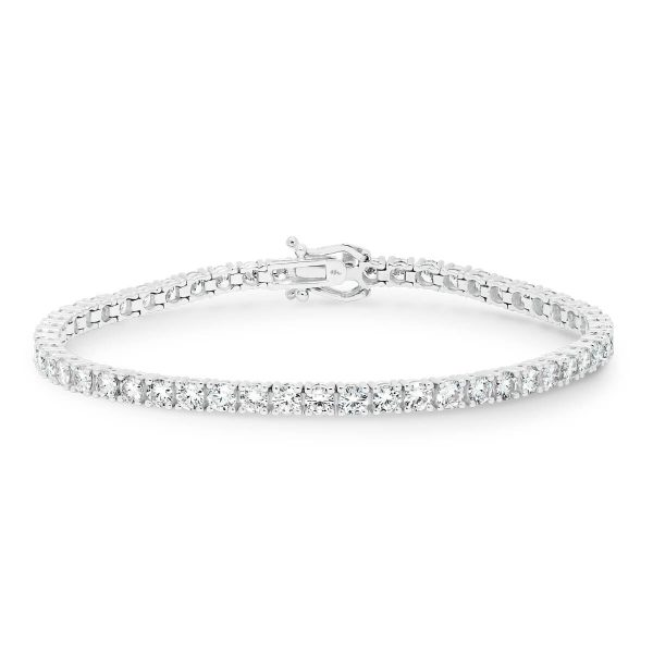Mikayla' classic 4 prong tennis bracelet in 18k white gold with safety clasp