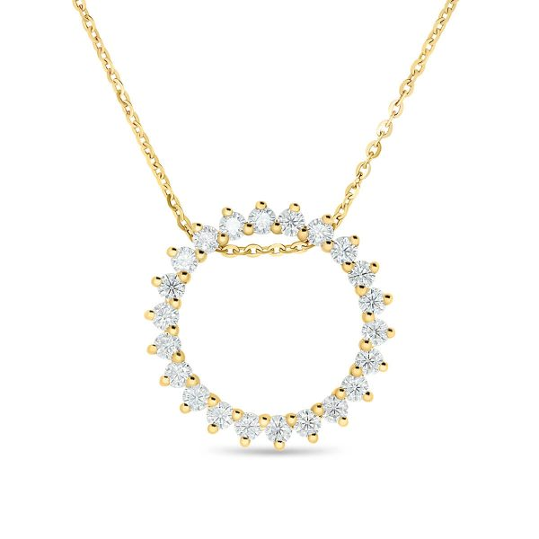 Stunning circle eternity pendant with prong set SUPERNOVA Moissanite stones