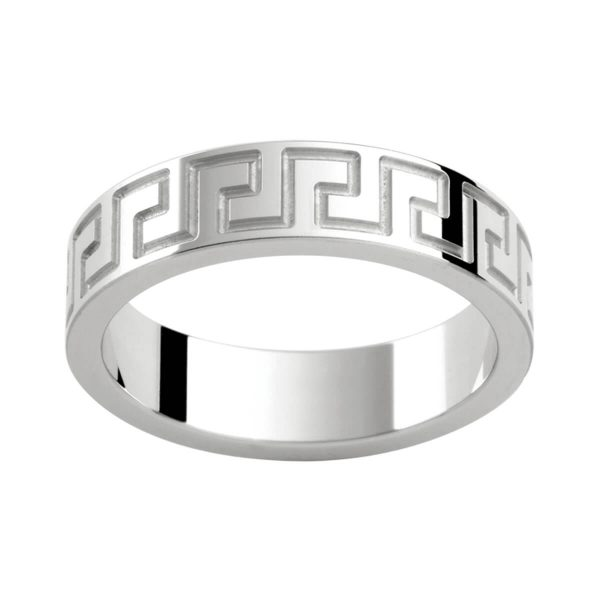 P274B stylish men's ring in polished gold with engraved graphic pattern all the way around