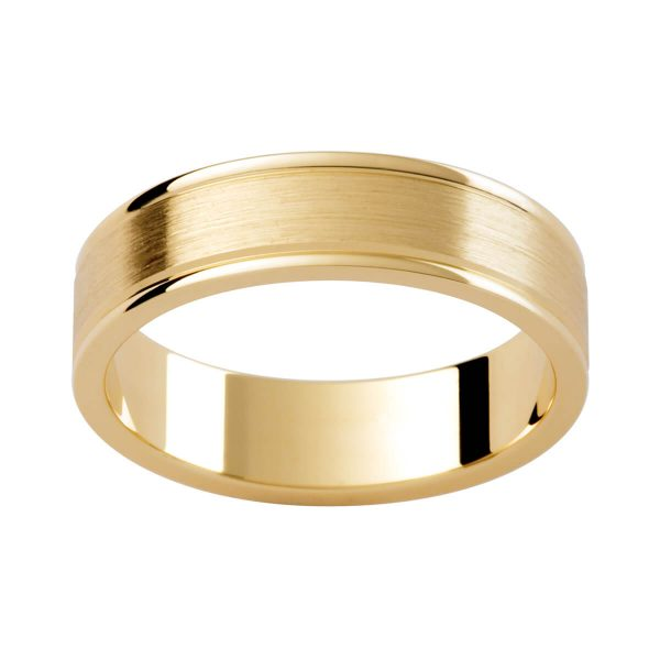 P276 classic men's yellow gold band in brushed finish with polished grooved edge