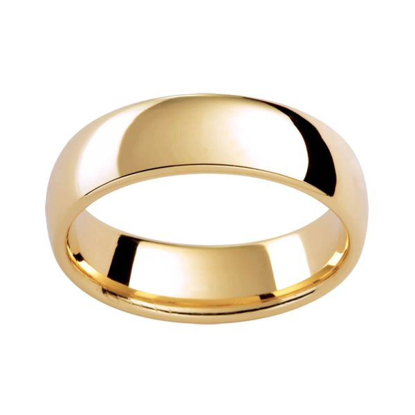P290 plain contour band with a high doom finish in polisyed yellow gold