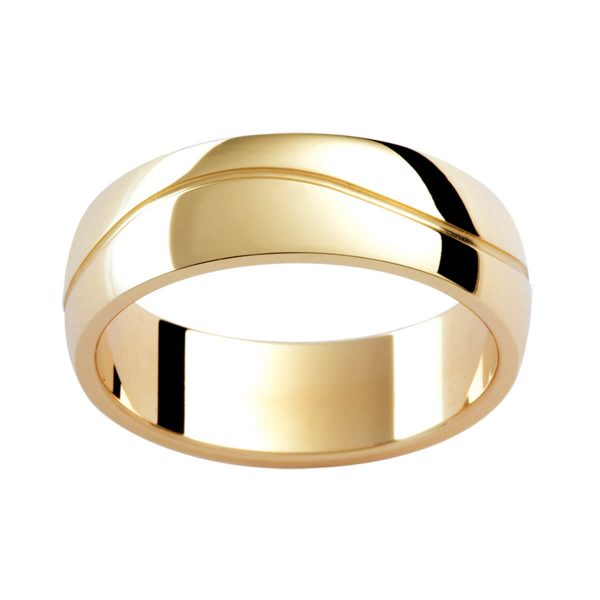 P334B classic semi-rounded band in polished yellow gold with a wave groove in centre