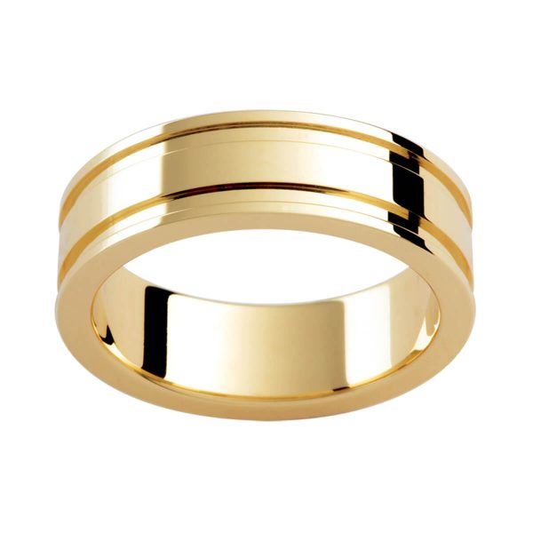 P339 polished men's flat band with double strip on edges in a polished finish
