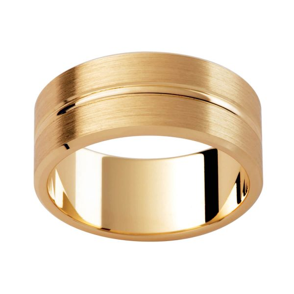P348 beautiful men's band in flat profile with a polished centreline groove on brushed finish