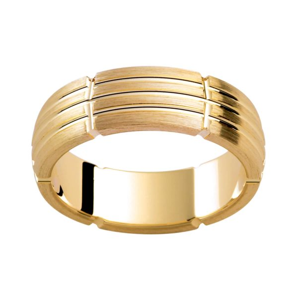 P349B stylish men's ring with patterned grooves in brushed yellow gold finis