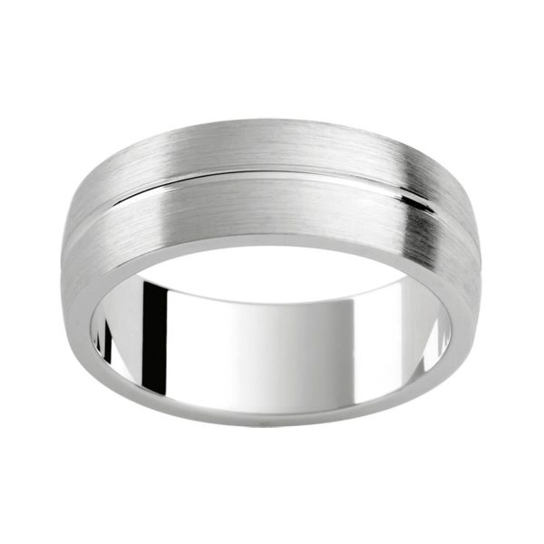 P411 classic men's wedding band in brushed finish with a polished centreline groove