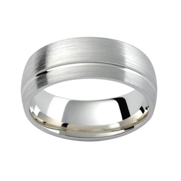 PC347 classic men's wedding ring in platinum with an offset groove and brushed finish