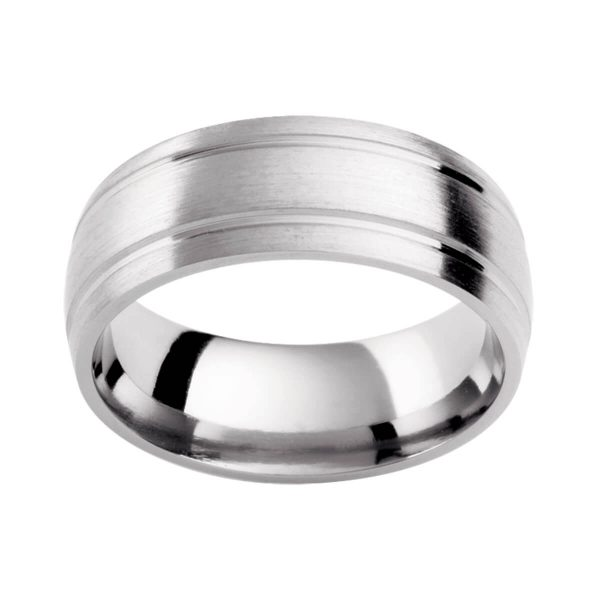 PC410 classic wedding band in brushed white gold with twin polished grooves