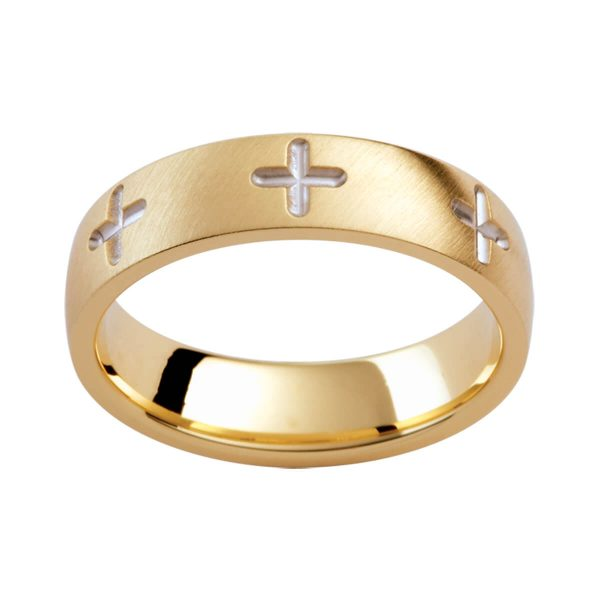 PJ275 men's semi-rounded band with cross pattern all the way around band in angled brushed yellow gold