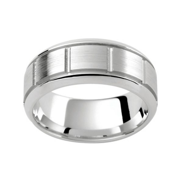 PJ291 stylish men's band with vertical grooves and horizontal grooved bevel edge in polished and emery finish