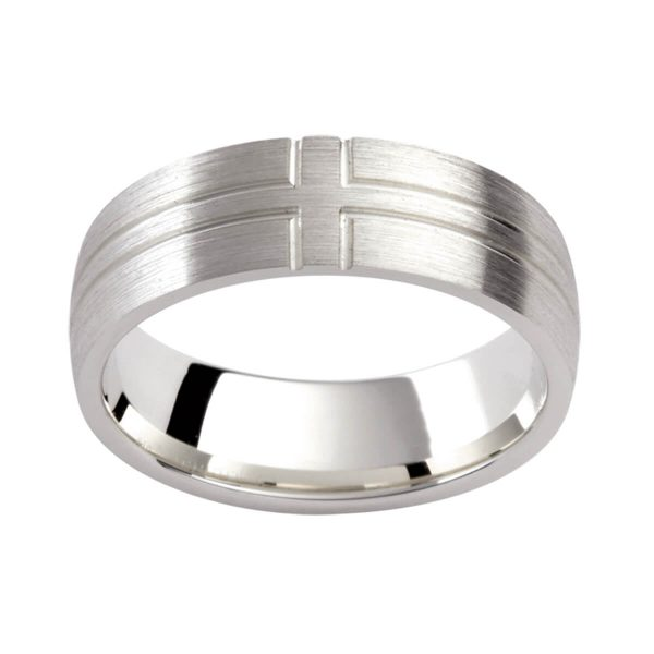 PJ333 brushed finish men's band with grooved cross-pattern in a semi-rounded band