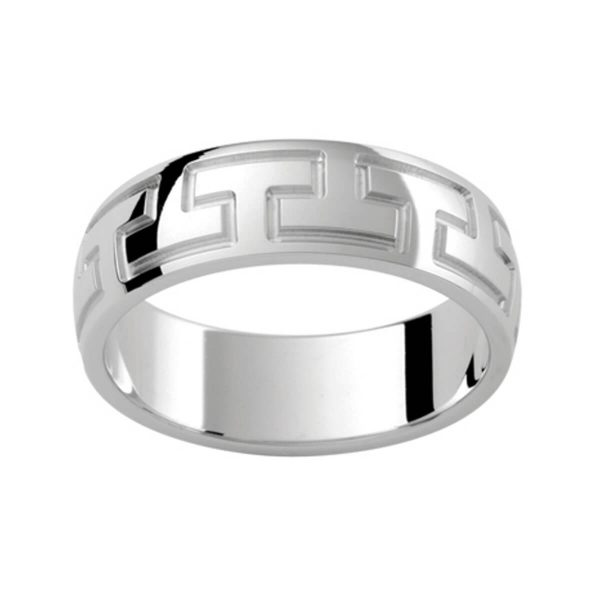 P345B Unique men's band in polished yellow gold with graphic motif