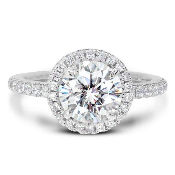 Rosie Round halo Moissanite engagement ring