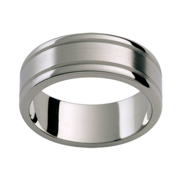Ti43B flat Titanium band with polished edges and emery finish with grooved lines