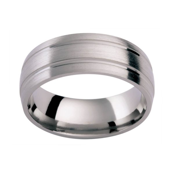 TiC42 men's band in brushed finish with double groove pattern