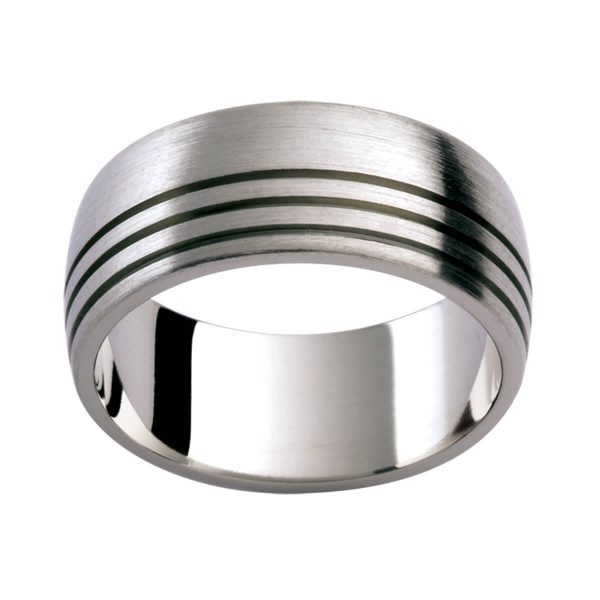 Ti40 Men's titanium ring with triple-row grooved pattern on one side of band in emery-brushed finish