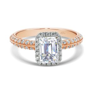 Arianne Emerald delicate halo ring on pave-set knife-edge band in two tone gold