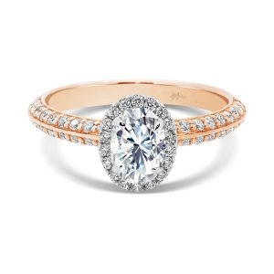 Arianne Oval delicate halo ring on pave-set knife-edge band in two tone gold