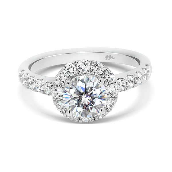 Bridget one carat 4 prong set halo ring on prong set band