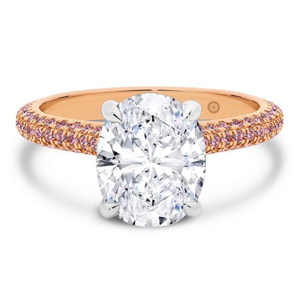 Casablanca Oval Pink trio micropave band