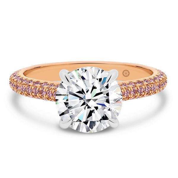 Casablanca Round Pink 3-row pave band
